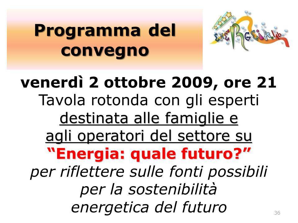 destinata alle famiglie e agli operatori del settore su Energia: quale futuro? venerdì 2 ottobre 2009, ore 21 Tavola rotonda con gli esperti destinata