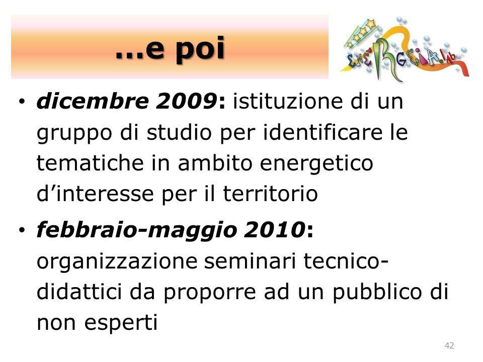 42 dicembre 2009: istituzione di un gruppo di studio per identificare le tematiche in ambito energetico dinteresse per il territorio febbraio-maggio 2