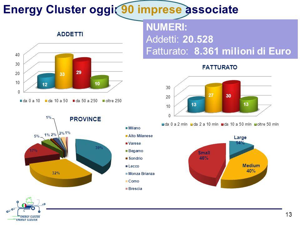 Energy Cluster oggi: 90 imprese associate NUMERI: Addetti: 20.528 Fatturato: 8.361 milioni di Euro 13