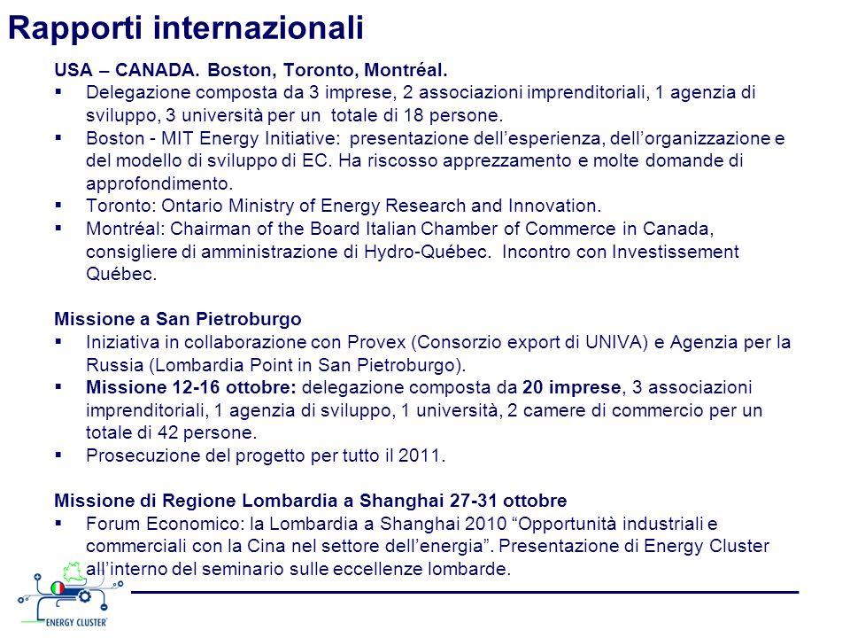 Rapporti internazionali USA – CANADA. Boston, Toronto, Montréal. Delegazione composta da 3 imprese, 2 associazioni imprenditoriali, 1 agenzia di svilu