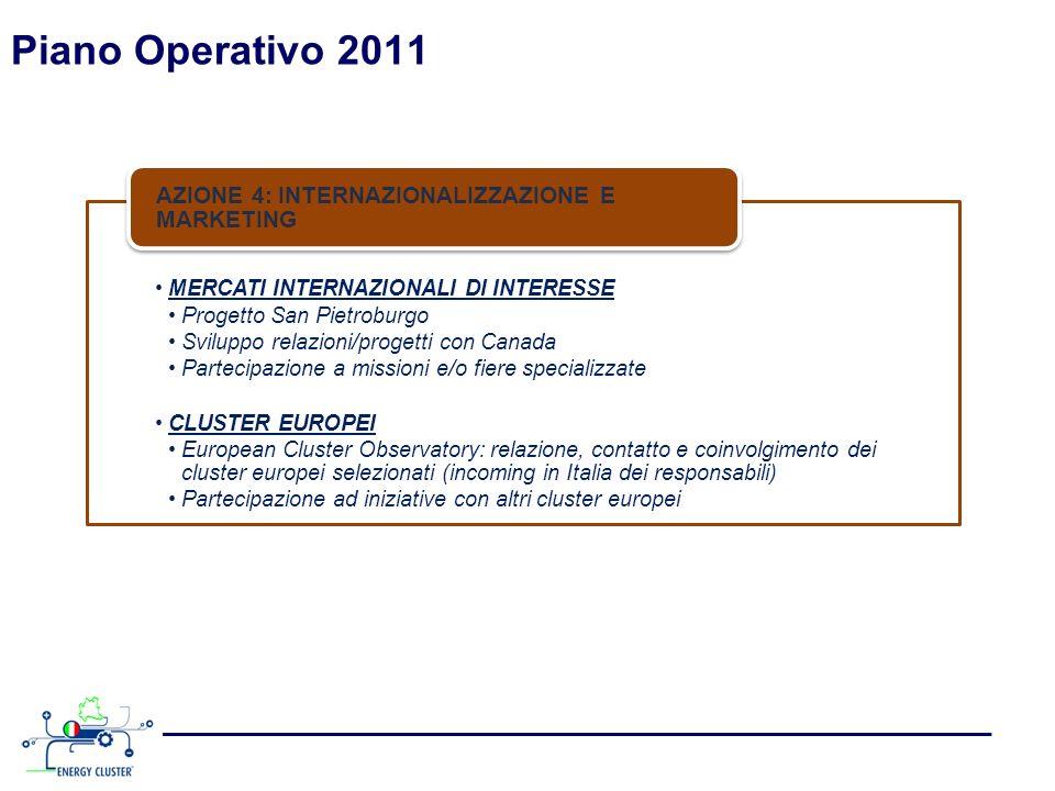 Piano Operativo 2011 MERCATI INTERNAZIONALI DI INTERESSE Progetto San Pietroburgo Sviluppo relazioni/progetti con Canada Partecipazione a missioni e/o