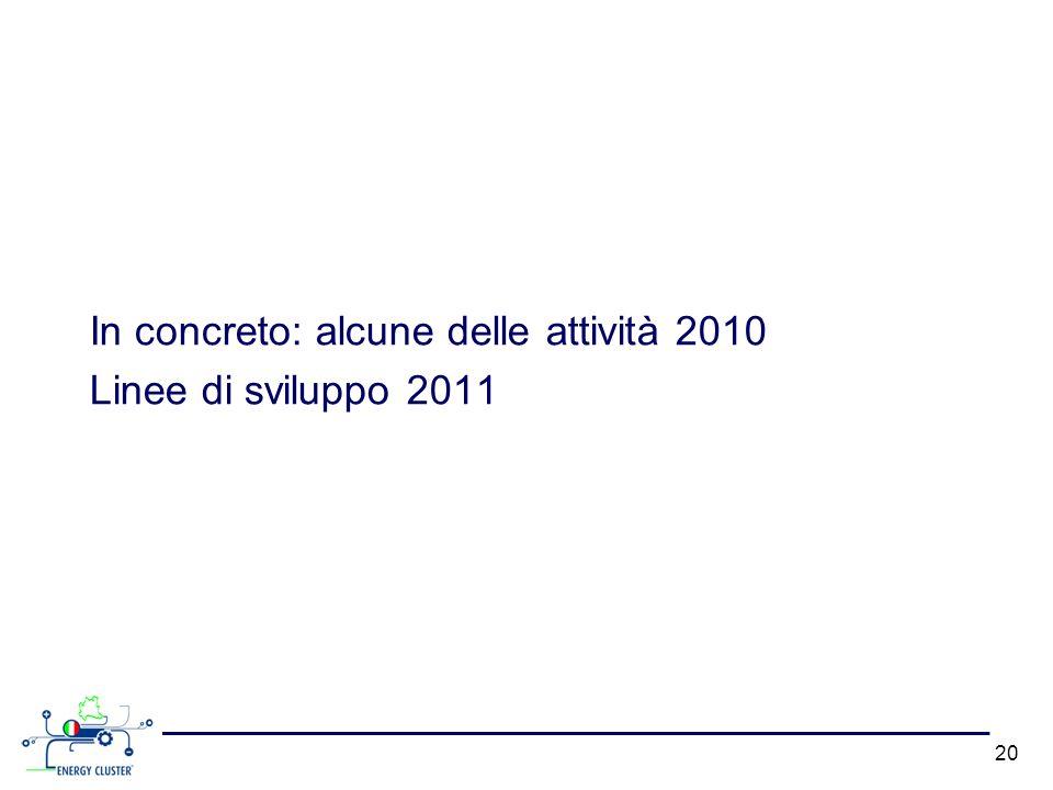 In concreto: alcune delle attività 2010 Linee di sviluppo 2011 20