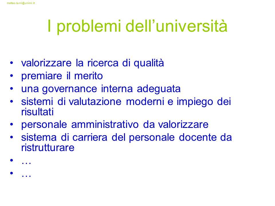 matteo.turri@unimi.it I problemi delluniversità valorizzare la ricerca di qualità premiare il merito una governance interna adeguata sistemi di valuta