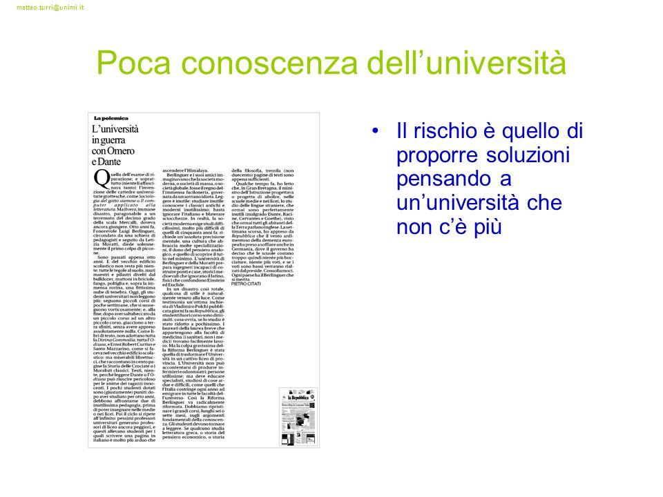 matteo.turri@unimi.it Poca conoscenza delluniversità Il rischio è quello di proporre soluzioni pensando a ununiversità che non cè più