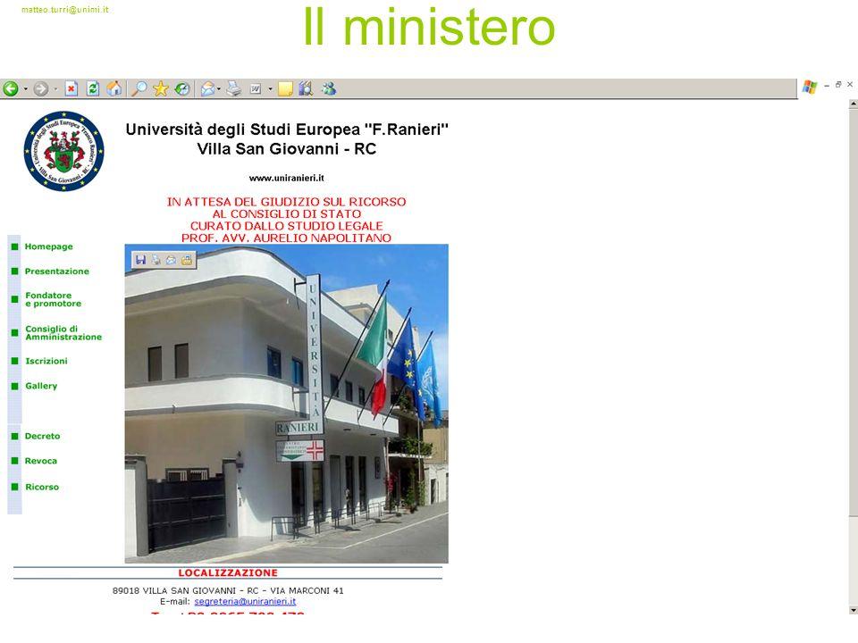 matteo.turri@unimi.it Il ministero