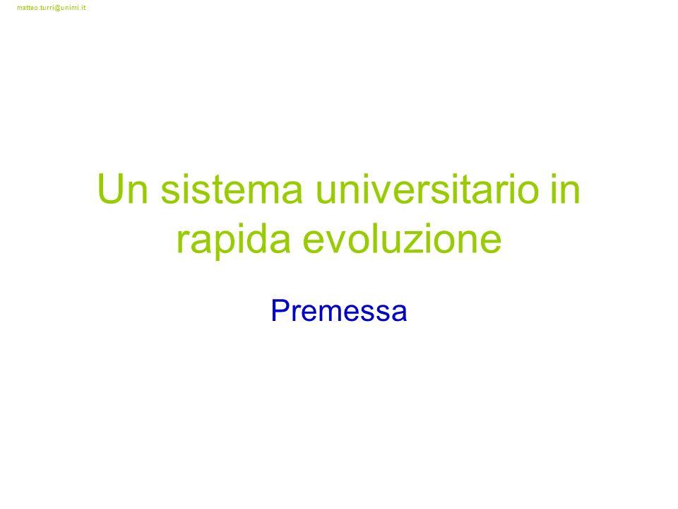 matteo.turri@unimi.it Un sistema universitario in rapida evoluzione Premessa