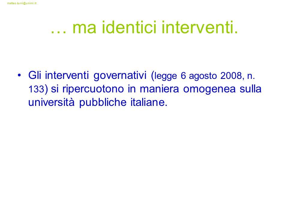 matteo.turri@unimi.it … ma identici interventi. Gli interventi governativi ( legge 6 agosto 2008, n. 133 ) si ripercuotono in maniera omogenea sulla u