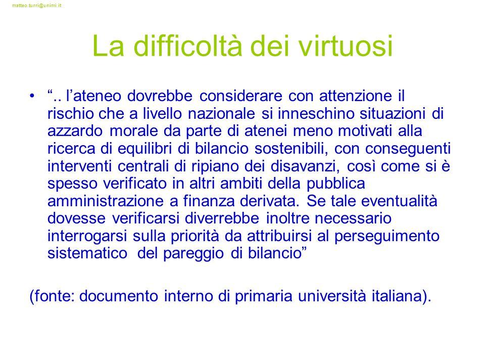 matteo.turri@unimi.it La difficoltà dei virtuosi.. lateneo dovrebbe considerare con attenzione il rischio che a livello nazionale si inneschino situaz