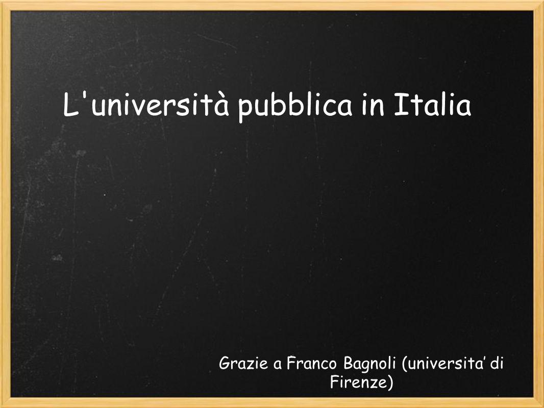 Effetti legge 133 Riduzione FFO.: alcuni dati (http://statistica.miur.it/Data/uic2007/Le_Risorse.pdf) http://statistica.miur.it/Data/uic2007/Le_Risorse.pdf La spesa pubblica per lUniversità (anno 2005) è lo 0.75% del PIL (agli ultimi posti in Europa) In Italia, la tassa di iscrizione media e di 700 euro (ateneo pubblico) 2400 euro (ateneo privato)