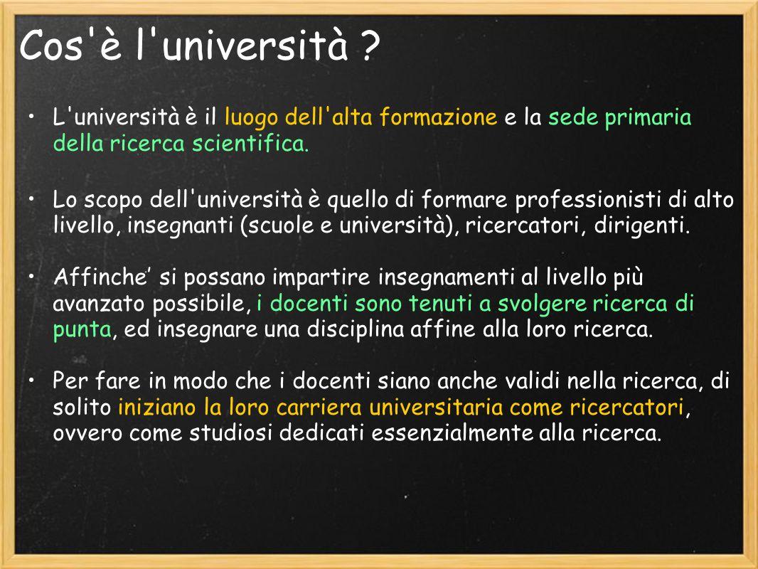 Cosè l università (pubblica) .