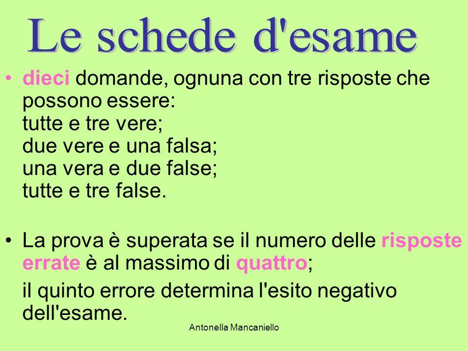 Antonella Mancaniello dieci domande, ognuna con tre risposte che possono essere: tutte e tre vere; due vere e una falsa; una vera e due false; tutte e