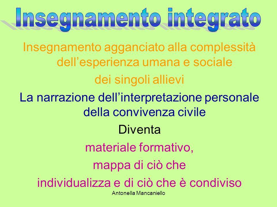 Antonella Mancaniello Insegnamento agganciato alla complessità dellesperienza umana e sociale dei singoli allievi La narrazione dellinterpretazione pe