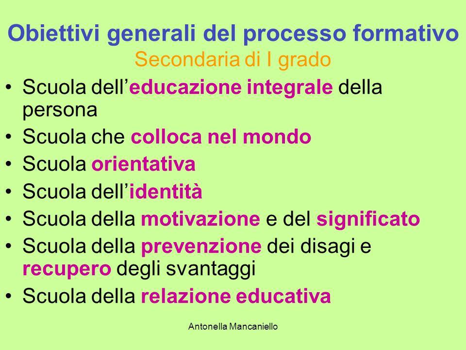 Antonella Mancaniello Obiettivi generali del processo formativo Secondaria di I grado Scuola delleducazione integrale della persona Scuola che colloca