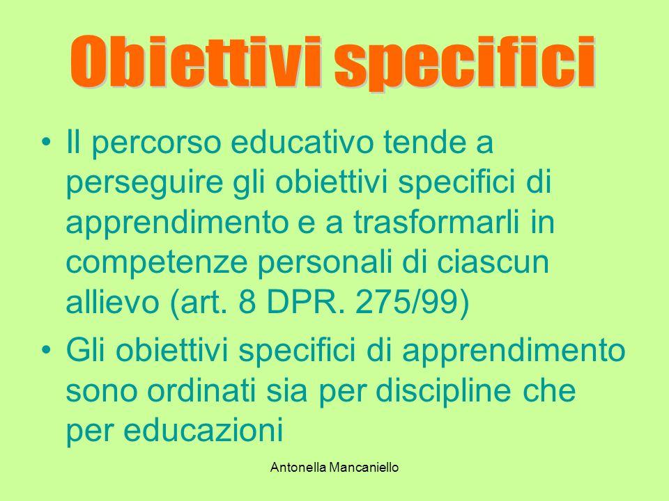 Antonella Mancaniello Il percorso educativo tende a perseguire gli obiettivi specifici di apprendimento e a trasformarli in competenze personali di ci
