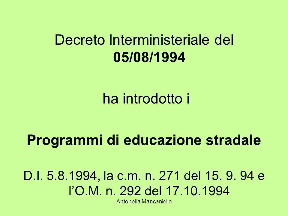 Antonella Mancaniello Decreto Interministeriale del 05/08/1994 ha introdotto i Programmi di educazione stradale D.I. 5.8.1994, la c.m. n. 271 del 15.