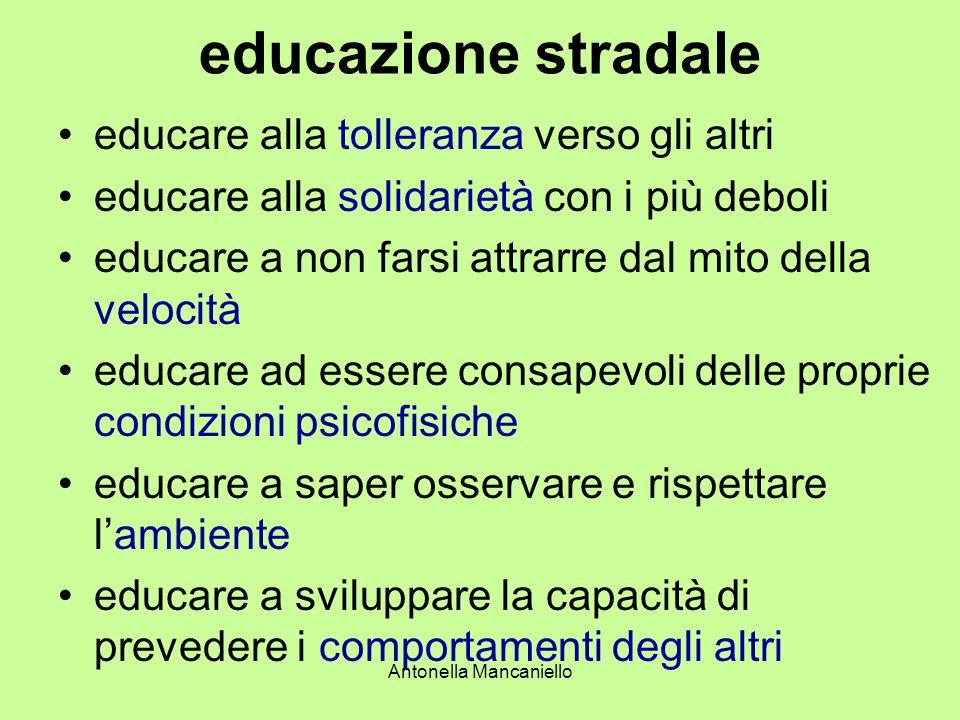 Antonella Mancaniello educazione stradale educare alla tolleranza verso gli altri educare alla solidarietà con i più deboli educare a non farsi attrar