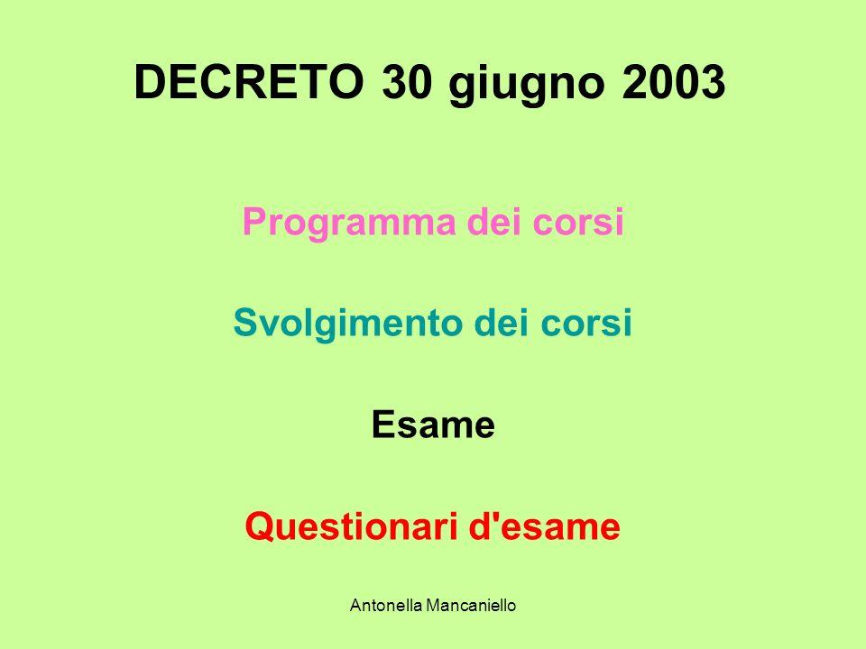 Antonella Mancaniello DECRETO 30 giugno 2003 Programma dei corsi Svolgimento dei corsi Esame Questionari d'esame
