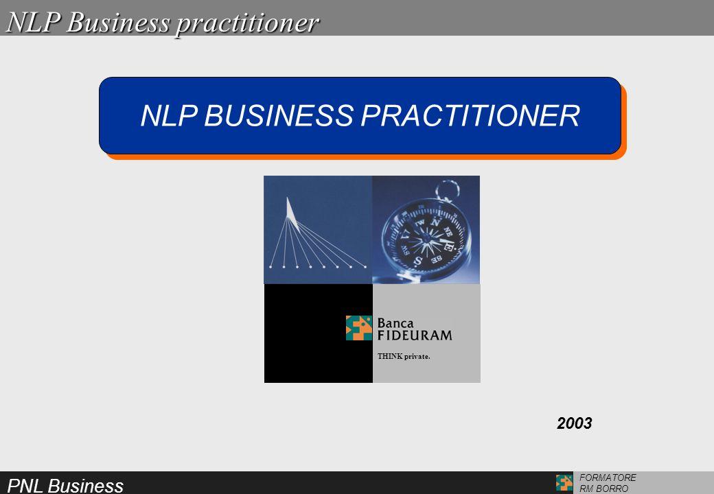 PNL Business FORMATORE RM BORRO IL PRIMO LIVELLO DI SPECIALIZZAZIONE IN PROGRAMMAZIONE NEURO LINGUISTICA APPLICATA AL BUSINESS IL PRIMO LIVELLO DI SPECIALIZZAZIONE IN PROGRAMMAZIONE NEURO LINGUISTICA APPLICATA AL BUSINESS NLP BUSINESS PRACTITIONER NLP Business practitioner