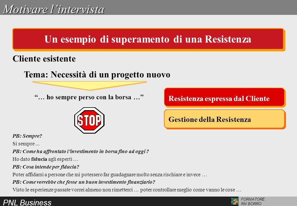 PNL Business FORMATORE RM BORRO Tema: Necessità di un progetto nuovo Gestione della Resistenza Resistenza espressa dal Cliente … ho sempre perso con l