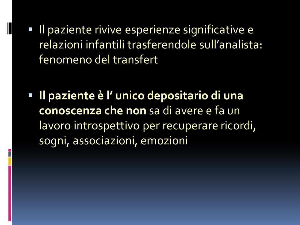 Il paziente rivive esperienze significative e relazioni infantili trasferendole sullanalista: fenomeno del transfert Il paziente è l unico depositario di una conoscenza che non sa di avere e fa un lavoro introspettivo per recuperare ricordi, sogni, associazioni, emozioni