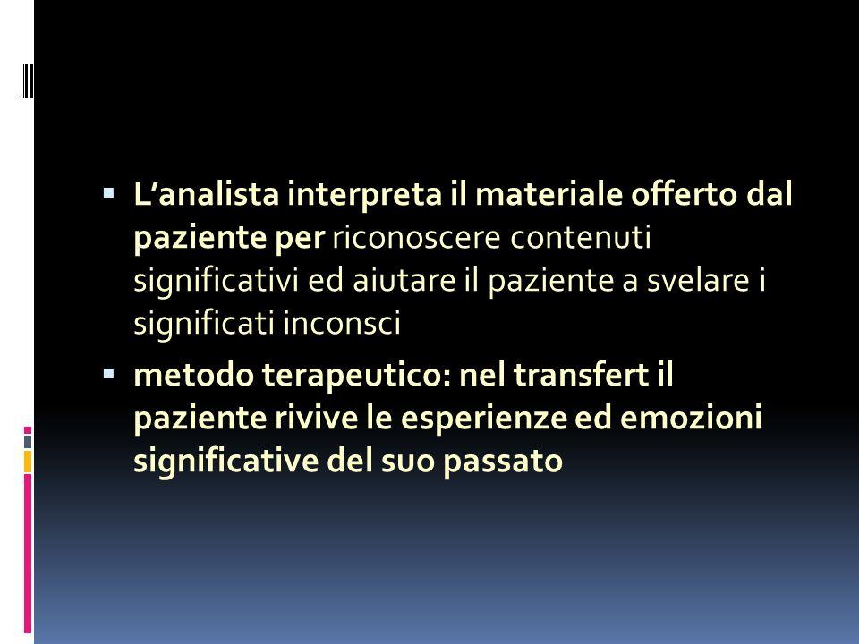Lanalista interpreta il materiale offerto dal paziente per riconoscere contenuti significativi ed aiutare il paziente a svelare i significati inconsci metodo terapeutico: nel transfert il paziente rivive le esperienze ed emozioni significative del suo passato