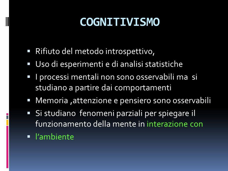 COGNITIVISMO Rifiuto del metodo introspettivo, Uso di esperimenti e di analisi statistiche I processi mentali non sono osservabili ma si studiano a partire dai comportamenti Memoria,attenzione e pensiero sono osservabili Si studiano fenomeni parziali per spiegare il funzionamento della mente in interazione con lambiente