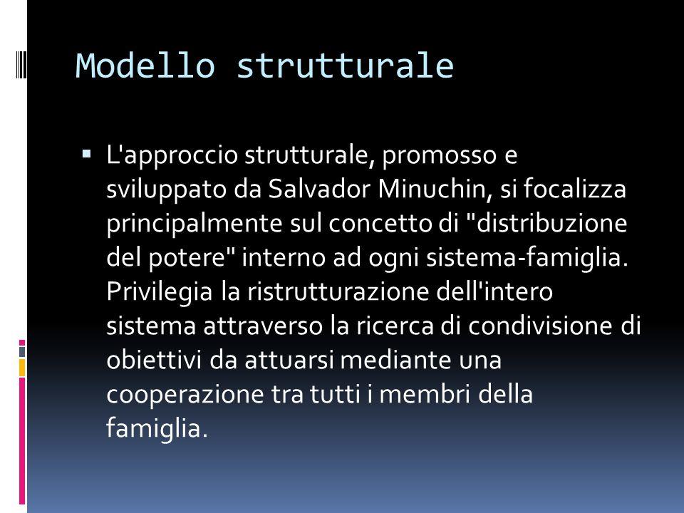 Modello strutturale L approccio strutturale, promosso e sviluppato da Salvador Minuchin, si focalizza principalmente sul concetto di distribuzione del potere interno ad ogni sistema-famiglia.