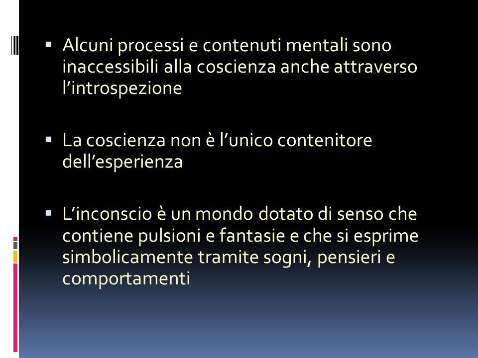 Origine psichica e non fisica del sintomo mentale Conflitto tra esperienza cosciente e contenuti rimossi delle esperienze infantili relegati nellinconscio dai meccanismi di difesa.