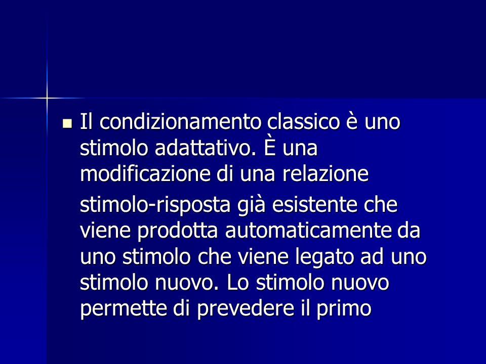 Il condizionamento classico è uno stimolo adattativo. È una modificazione di una relazione Il condizionamento classico è uno stimolo adattativo. È una