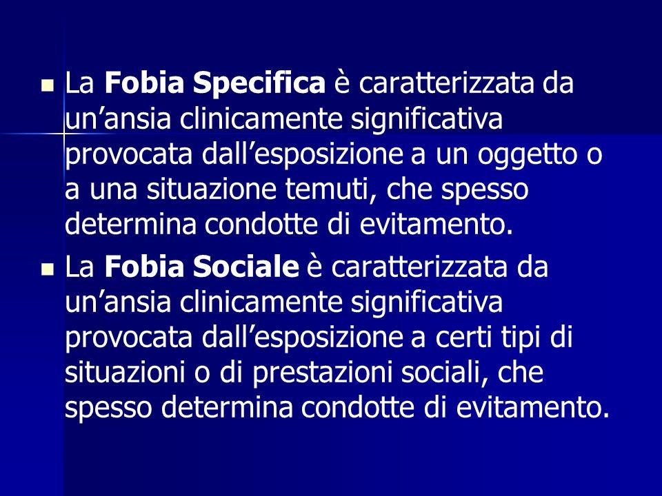 La Fobia Specifica è caratterizzata da unansia clinicamente significativa provocata dallesposizione a un oggetto o a una situazione temuti, che spesso