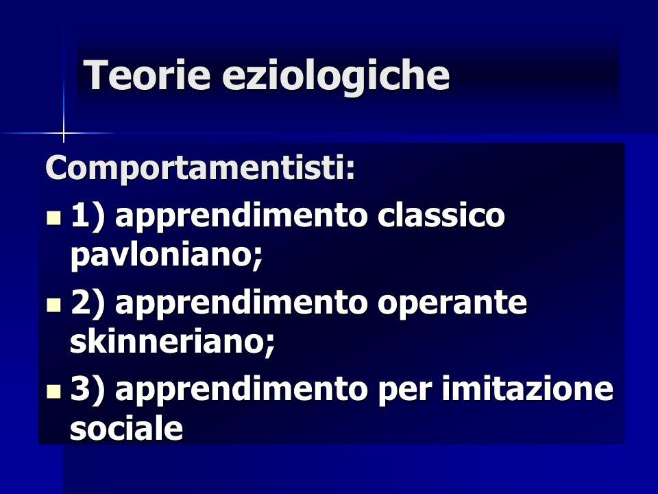 Teorie eziologiche Comportamentisti: 1) apprendimento classico pavloniano; 1) apprendimento classico pavloniano; 2) apprendimento operante skinneriano
