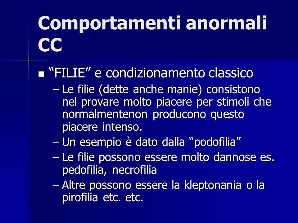 Comportamenti anormali CC FILIE e condizionamento classico FILIE e condizionamento classico –Le filie (dette anche manie) consistono nel provare molto