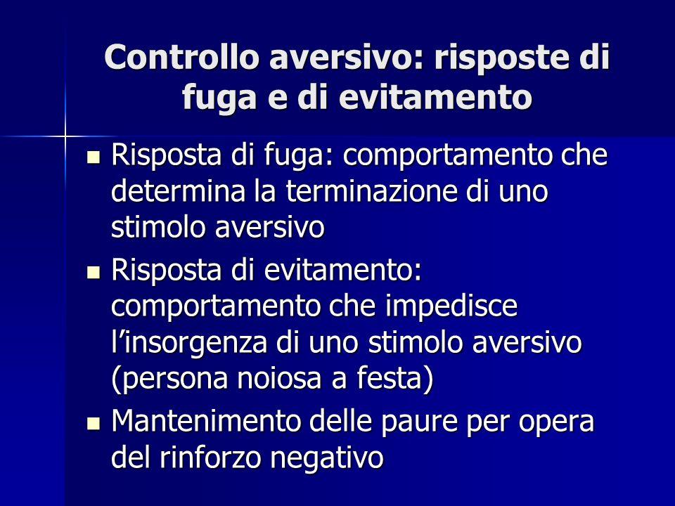 Controllo aversivo: risposte di fuga e di evitamento Risposta di fuga: comportamento che determina la terminazione di uno stimolo aversivo Risposta di