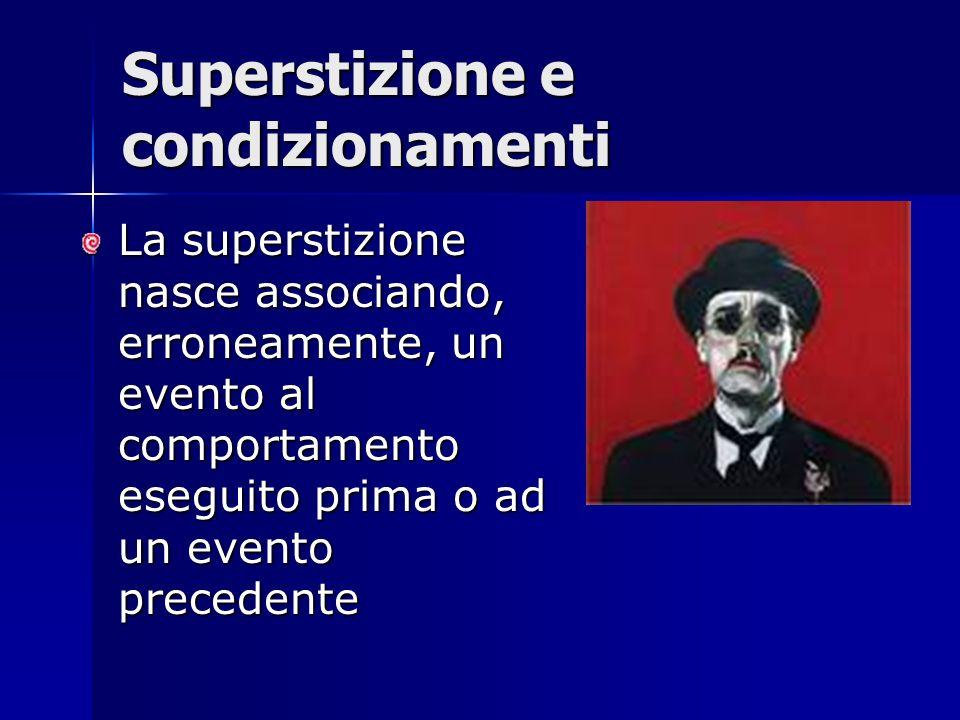La superstizione nasce associando, erroneamente, un evento al comportamento eseguito prima o ad un evento precedente