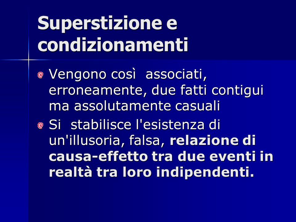 Superstizione e condizionamenti Vengono così associati, erroneamente, due fatti contigui ma assolutamente casuali Si stabilisce l'esistenza di un'illu