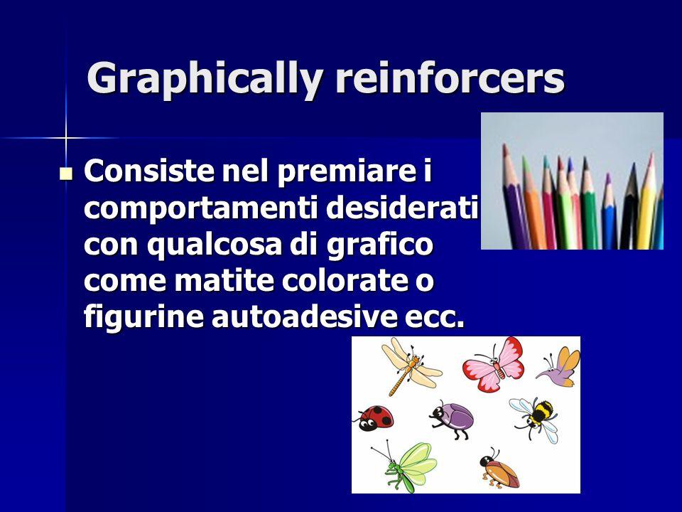Graphically reinforcers Consiste nel premiare i comportamenti desiderati con qualcosa di grafico come matite colorate o figurine autoadesive ecc. Cons