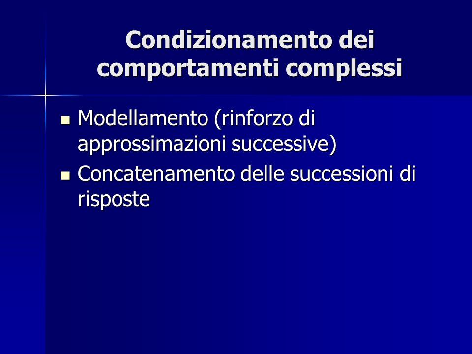 Condizionamento dei comportamenti complessi Modellamento (rinforzo di approssimazioni successive) Modellamento (rinforzo di approssimazioni successive