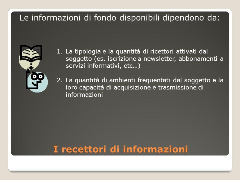 I recettori di informazioni Le informazioni di fondo disponibili dipendono da: 1.La tipologia e la quantità di ricettori attivati dal soggetto (es.