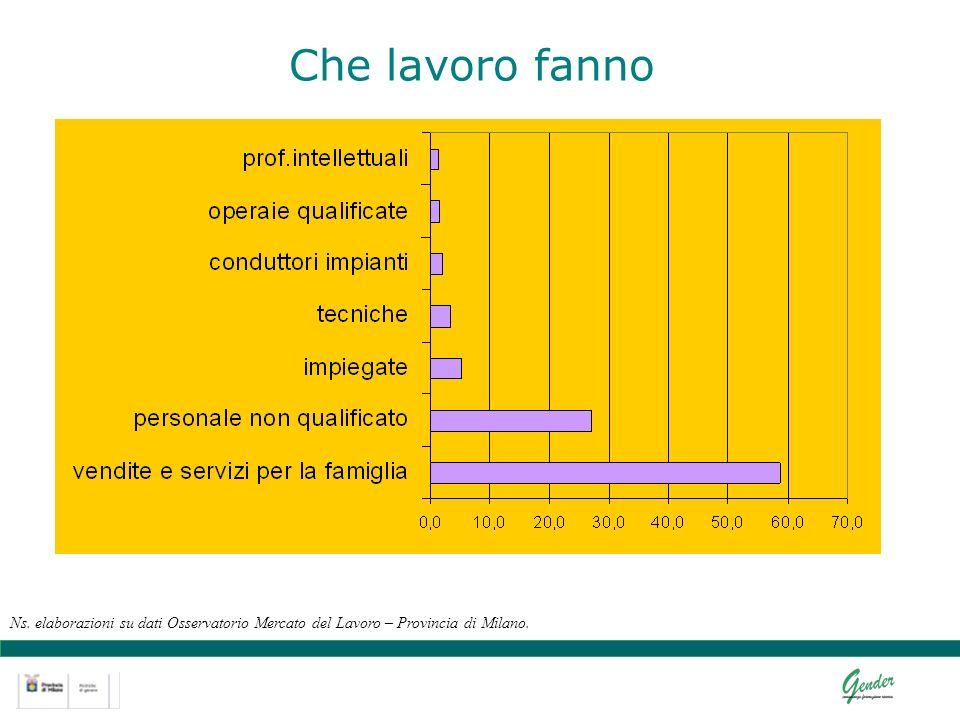 Che lavoro fanno Ns. elaborazioni su dati Osservatorio Mercato del Lavoro – Provincia di Milano.