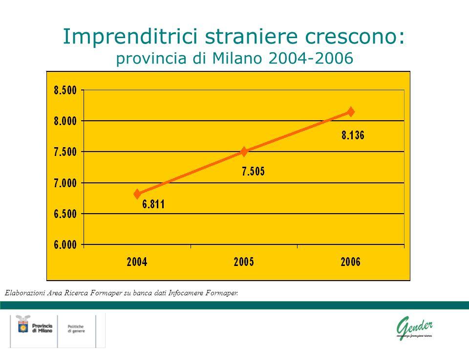 Imprenditrici straniere crescono: provincia di Milano 2004-2006 Elaborazioni Area Ricerca Formaper su banca dati Infocamere Formaper.