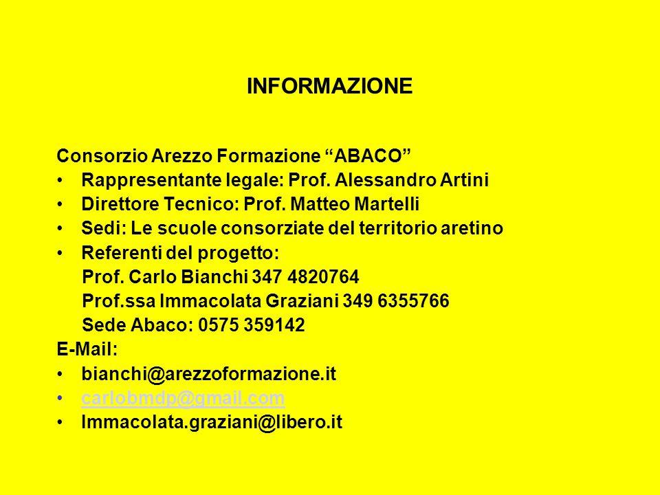 INFORMAZIONE Consorzio Arezzo Formazione ABACO Rappresentante legale: Prof.