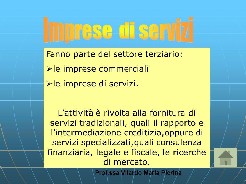 Prof.ssa Vilardo Maria Pierina Fanno parte del settore terziario: le imprese commerciali le imprese di servizi. Lattività è rivolta alla fornitura di
