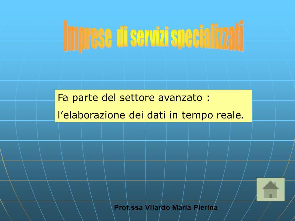 Prof.ssa Vilardo Maria Pierina Fa parte del settore avanzato : lelaborazione dei dati in tempo reale.