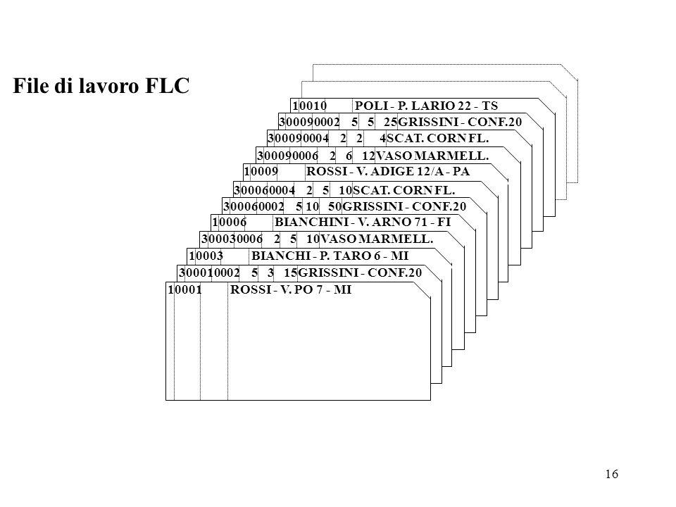 16 File di lavoro FLC 10010 POLI - P. LARIO 22 - TS 300090004 2 2 4SCAT. CORN FL. 300090006 2 6 12VASO MARMELL. a b c d e f g 10009 ROSSI - V. ADIGE 1