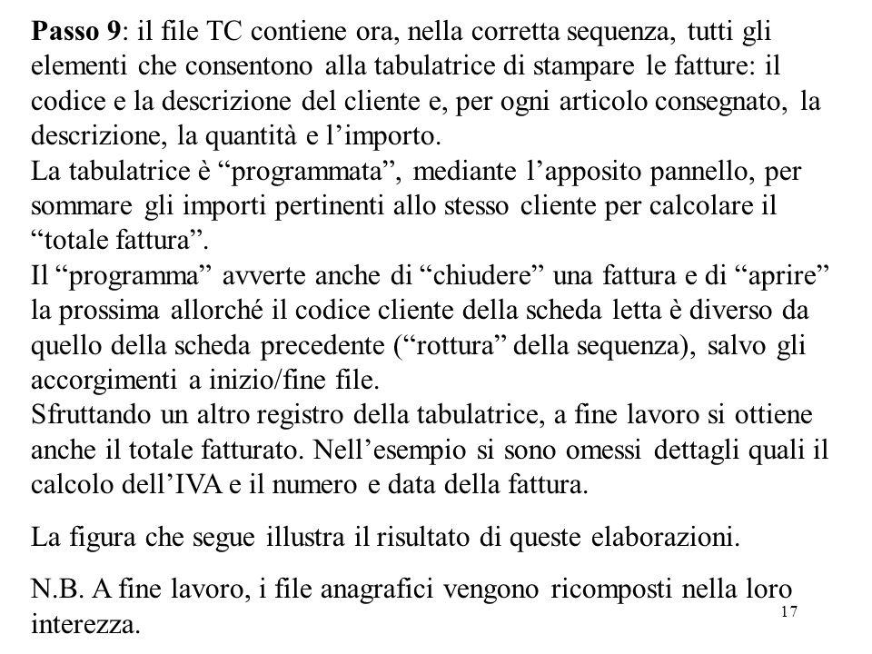 17 Passo 9: il file TC contiene ora, nella corretta sequenza, tutti gli elementi che consentono alla tabulatrice di stampare le fatture: il codice e l