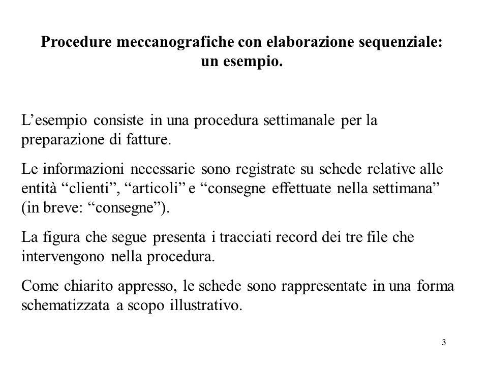 3 Procedure meccanografiche con elaborazione sequenziale: un esempio. Lesempio consiste in una procedura settimanale per la preparazione di fatture. L