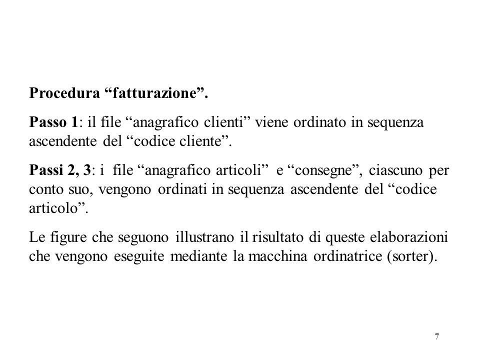 7 Procedura fatturazione. Passo 1: il file anagrafico clienti viene ordinato in sequenza ascendente del codice cliente. Passi 2, 3: i file anagrafico