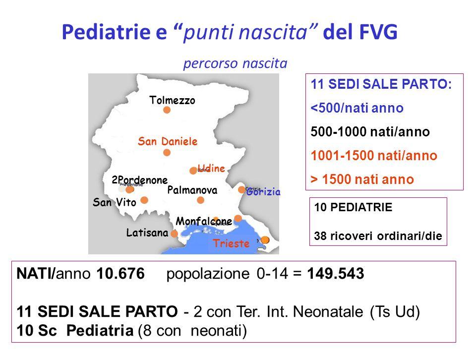 Pediatrie e punti nascita del FVG percorso nascita NATI/anno 10.676 popolazione 0-14 = 149.543 11 SEDI SALE PARTO - 2 con Ter. Int. Neonatale (Ts Ud)