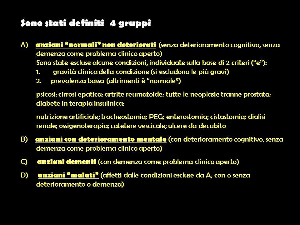 Sono stati definiti 4 gruppi A) anziani normali non deteriorati (senza deterioramento cognitivo, senza demenza come problema clinico aperto) Sono state escluse alcune condizioni, individuate sulla base di 2 criteri (e): 1.