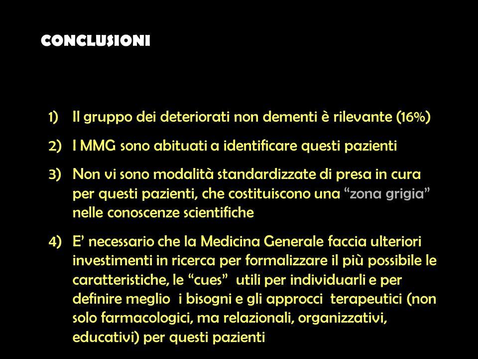 CONCLUSIONI 1)Il gruppo dei deteriorati non dementi è rilevante (16%) 2)I MMG sono abituati a identificare questi pazienti 3)Non vi sono modalità stan